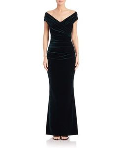 Talbot Runhof | Gathered Off-The-Shoulder Velvet Gown