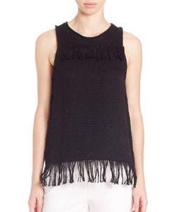 Tess Giberson | Cotton Knit Weave Fringe Top