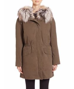 Army Yves Salomon | Cotton Fox Fur-Trimmed Parka