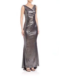Talbot Runhof | Gathered Metallic Gown