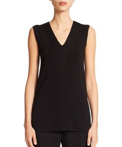 Akris | Architecture Collection Sleeveless V-Neck Wool Shell