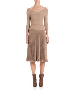 Ralph Lauren Collection | Scoopneck Pleated Skirt Dress