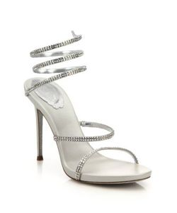 Rene Caovilla | Leather Crystal Swirl Sandals