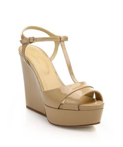 Sergio Rossi | Edwige Patent Leather T-Strap Wedge Sandals