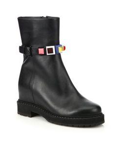 Fendi | Rainbow Studded Leather Wedge Booties