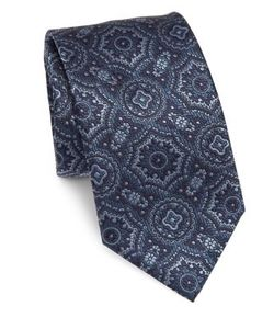 Brioni | Medallion Printed Silk Tie