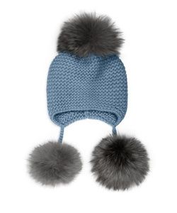 Inverni | Triple Pom Knit Cashmere Fox Fur Beanie