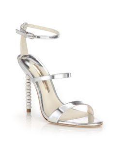 Sophia Webster | Rosalind Crystal-Heel Metallic Leather Sandals