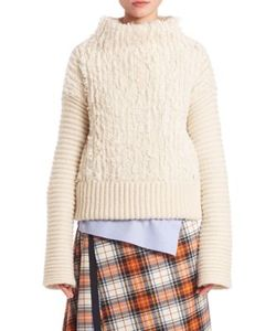 Cédric Charlier | Furry Cable-Knit Turtleneck