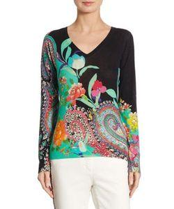 Etro | Paisley Silk Cashmere V-Neck Sweater