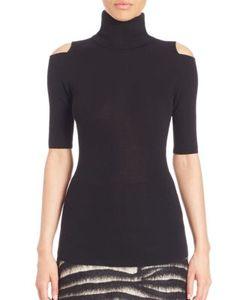 Zoe Jordan   Perey Wool Cashmere Cold-Shoulder Turtleneck Sweater