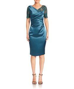 Talbot Runhof | Lace-Sleeve Cocktail Dress