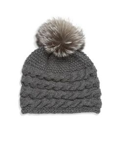 Inverni | Fox Fur Pom-Pom Braided Cashmere Beanie
