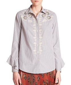 Suno | Embroidered Button-Front Shirt