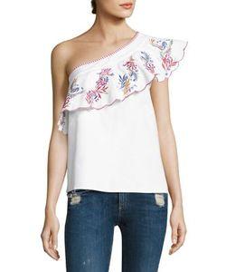 Saloni | Esme Embroidered One-Shoulder Top