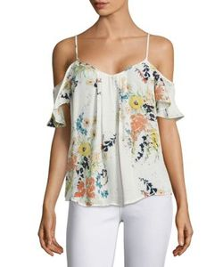 Joie | Adorlee Printed Silk Cold Shoulder Blouse