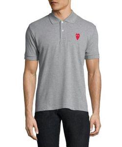 Comme Des Garçons Play   Heart Patch Cotton Polo Shirt