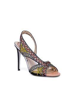 Rene Caovilla | Crystal Suede Asymmetric Sandals
