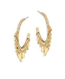 Alexis Bittar | Elements Crystal-Encrusted Pleated Hoop Earrings/1.75