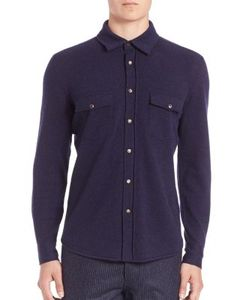 Brunello Cucinelli | Solid Wool Cashmere Silk Blend Western Shirt