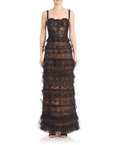 Marchesa | Embellished Lace Bustier Column Gown