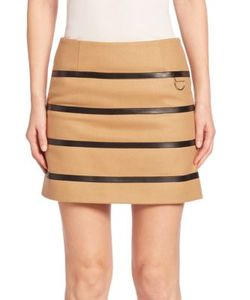 Sonia By Sonia Rykiel | Faux Leather Striped Wool-Blend Skirt