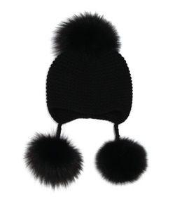 Inverni | Triple Fox Fur Pom-Pom Cashmere Hat