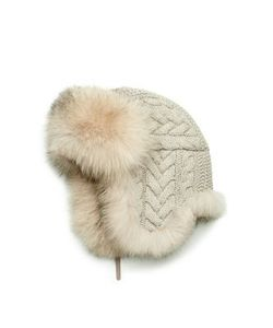Inverni | Cashmere Cable Fox Fur Trapper Hat