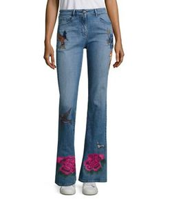 3X1 | Embroidered Flared Leg Jeans