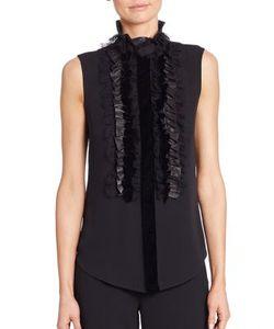 Ralph Lauren Collection | Adeena Ruffle-Bib Silk Blouse