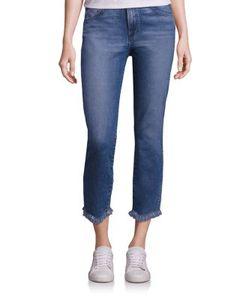 3X1   Straight Authentic Crop Fringe Jeans