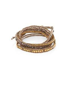 Chanluu | Swarovski Crystal Leather Beaded Wrap Bracelet