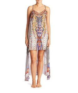 Camilla   Echoes Of Engai Embellished Silk Split Front Dress