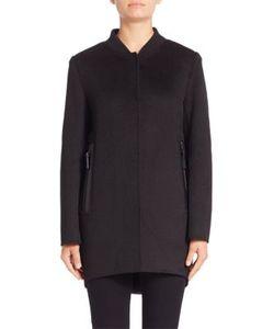 Derek Lam 10 Crosby   Leather-Trimmed Button-Down Coat
