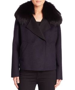 Derek Lam 10 Crosby   Fox Fur Collar Cropped Peacoat