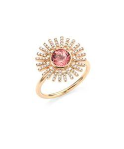 Astley Clarke | Rising Sun Diamond Pink Tourmaline 18k Yellow Gold Ring
