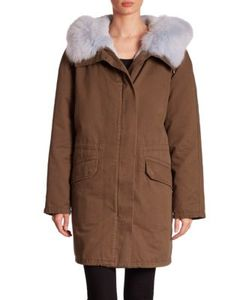 Army Yves Salomon | Fox Rabbit Fur Detail Cotton Parka