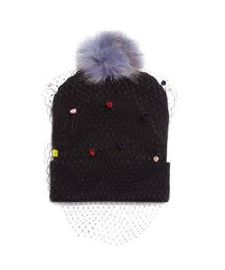 House Of Lafayette | Milou 1 Fox Fur Pom-Pom Veil Beanie