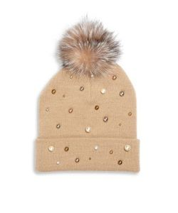 House Of Lafayette | Milou 2 Faux-Pearl Fox Fur Pom-Pom Beanie
