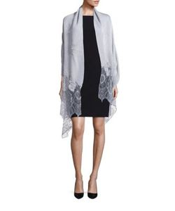 Valentino   Wool Silk Cashmere Blend Lace Shawl