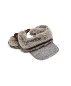 Lola Hats | Head And Tails Wool Faux-Fur Visor
