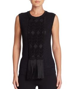 Ralph Lauren Collection | Fringe-Detail Embroidered Silk Knit Shell