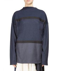 Cédric Charlier | Wool-Blend Jersey Cotton Poplin Sweater