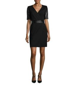 The Kooples | Short Leather Sleeve Dress