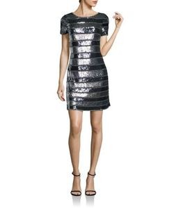 Aidan Mattox | Embellished Striped Dress