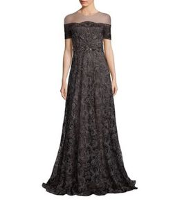 Marchesa Notte | Illusion Off-The-Shoulder Embroidered Gown
