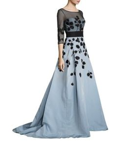 Carolina Herrera | Illusion Sleeve Embroidered Colorblock Gown
