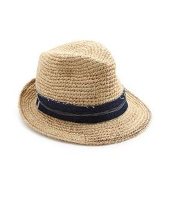 Lola Hats | Tarboush Denim-Trim Raffia Fedora
