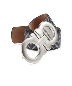 Salvatore Ferragamo | Chevron Reversible Calfskin Leather Belt