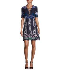 Yigal Azrouel | Lacing-Detail Printed Jacquard A-Line Dress